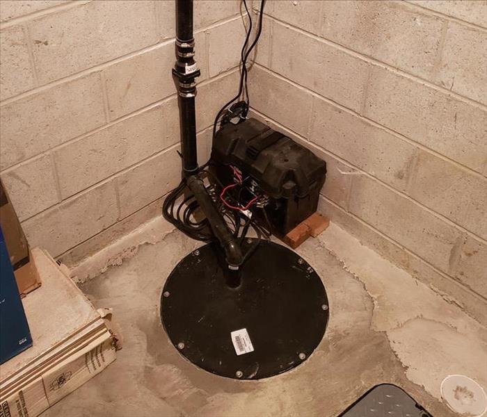 An installed sump pump