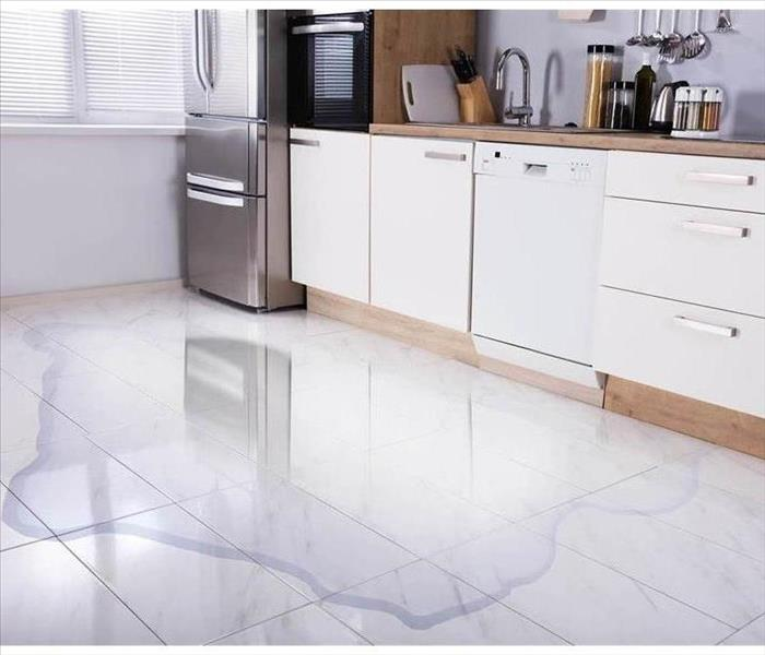 A kitchen that has standing water on the floor.
